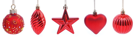 Christmas stress: Some red baubles hanging down
