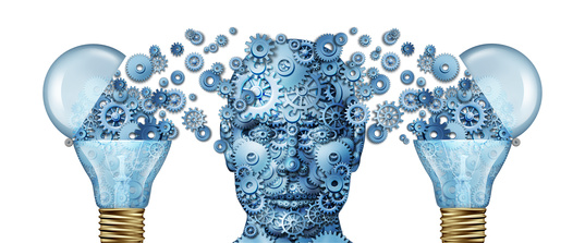 Are you and your staff brainwashed: gears shaped as a human head and light bulb as a 3D illustration.