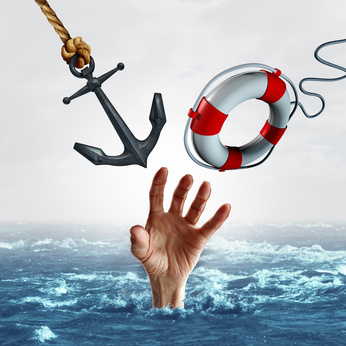 5 key HR skills for surviving Trump's madhouse: A hand in the sea- reaching out for an anchor and a lifebuoy