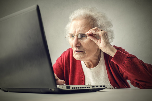 Workforce Planning – what role for employers who care what happens to our older workers: Confused elderly woman using a laptop