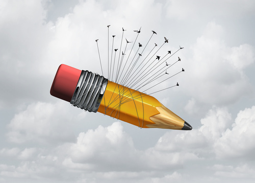 The self employment delusion: A group of birds carrying a large pencil via a black string