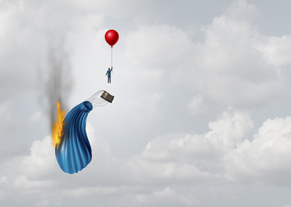 Don't commit to a 3 or 5 year HR service contract: A man who's hot air balloon has caugh on fire, is escaping using a red balloon